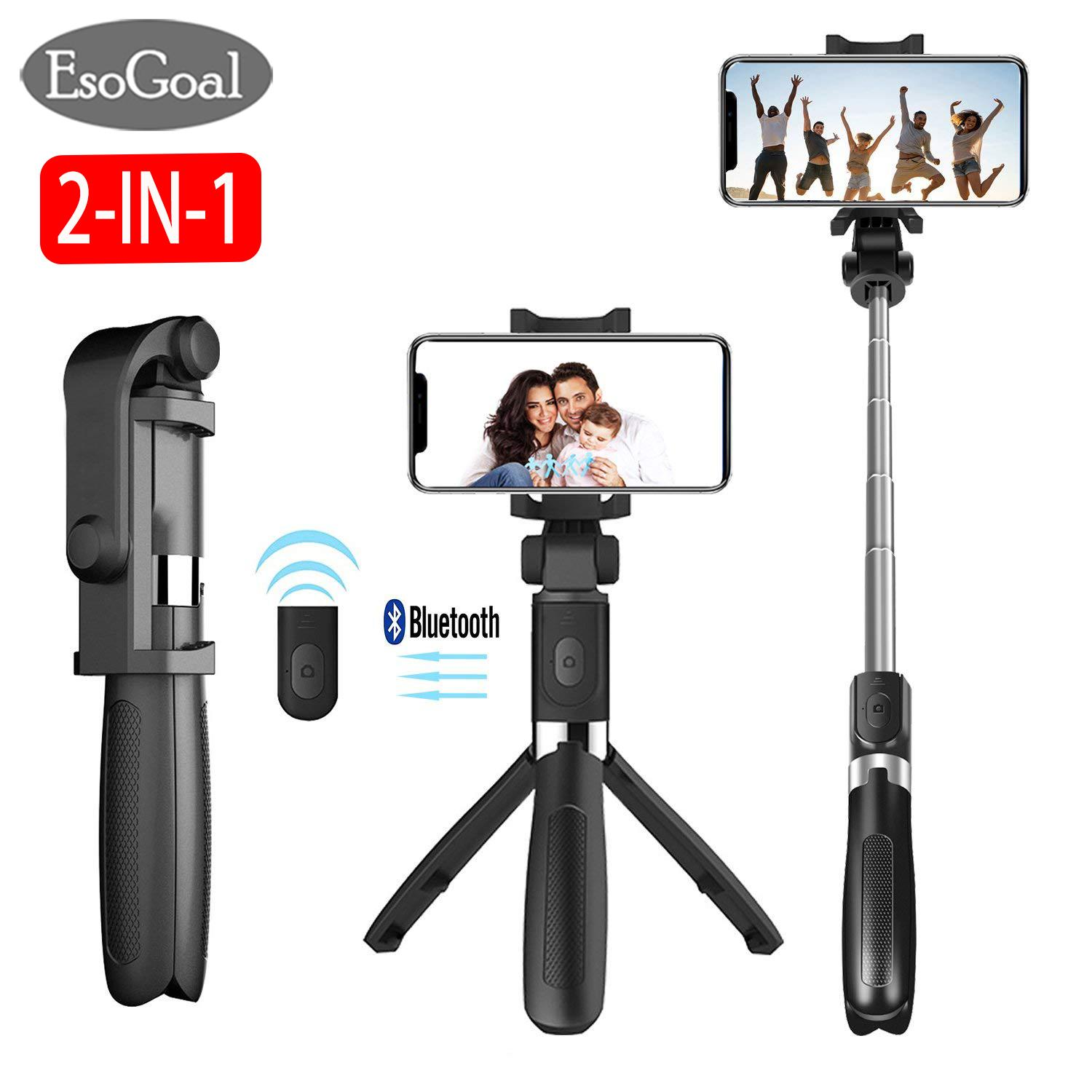 Esogoal 2 In 1 Selfie Stick Tripod Bluetooth Selfie Stand With Remote Shutter Foldable Tripod Monopod By Esogoal.