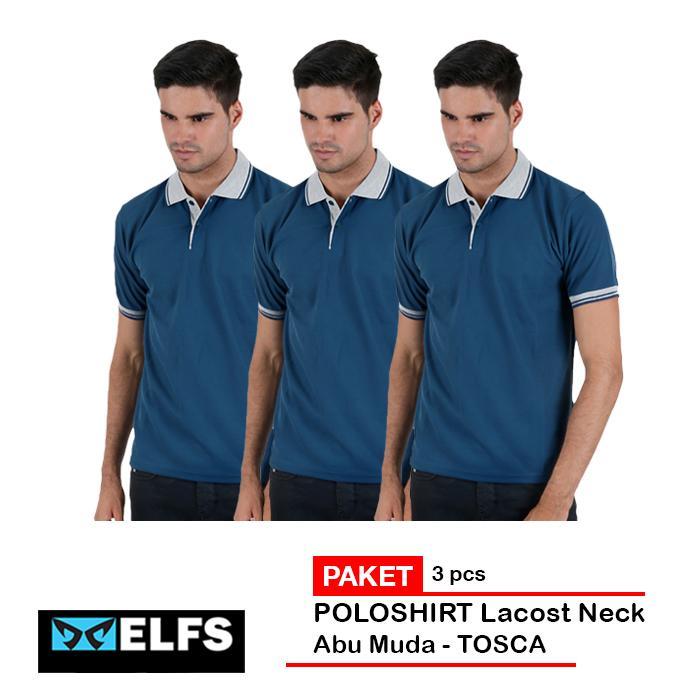 Elfs Shop - PAKET 3 PCS Kaos Polo Shirt Pria Baju Kerah Lakos Abu Muda  - Abu Tua