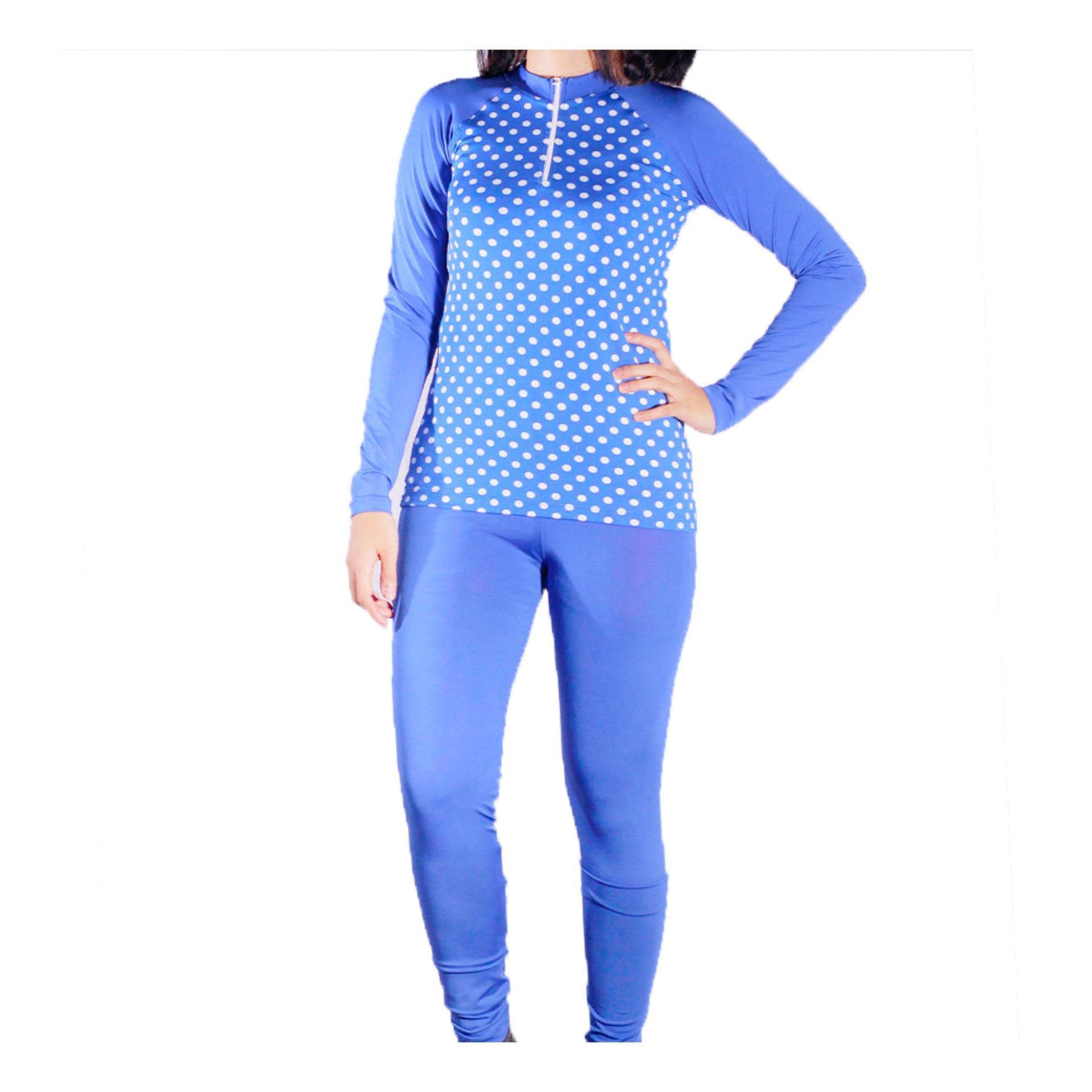 Mall BTM Fashion - Diana Baju Renang Atasan Dan Bawahan Panjang Motif Polkadot Harga Murah - Biru