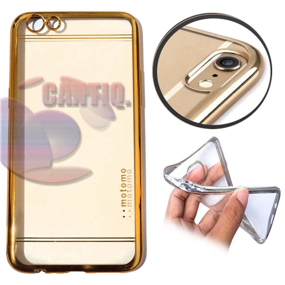 Motomo Chrome Oppo A71 Shining Chrome / Silikon Oppo A71 Shining List Chrome / Ultrahin Oppo A71 List Chrome Gold Jelly Case / Silicone Shinning / Case Oppo A71 / Soft Case / Casing Hp - Gold