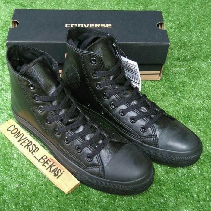 Sepatu Sneakers Converse Leather Kulit Full Black Hitam Premium Import - Nnz6vb