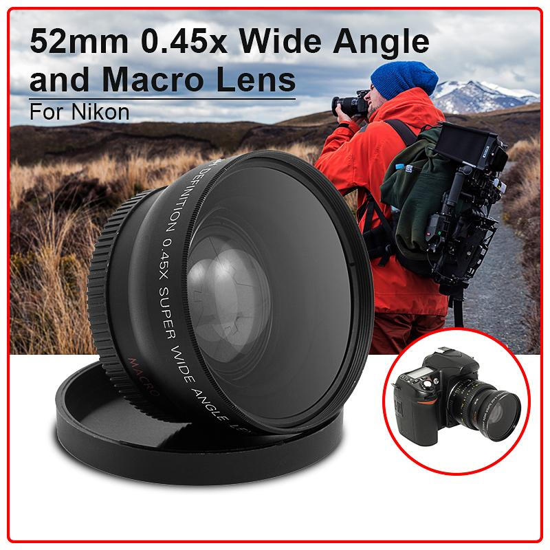 52 mm 52mm 0.45x Wide Angle and Macro Lens + Black Lens Pouch for Nikon