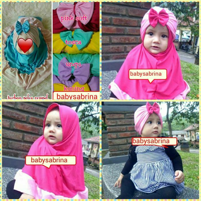 Jilbab bayi/jilbab anak turban polos rempel pita
