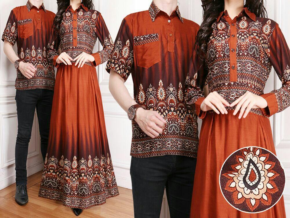 Ladies Fashion  Batik Pasangan / Couple Kemeja pria Muslim / Batik Couple Wanita Pria / Gamis Muslim / Batik Asli / Set Muslim (rtikaka) 7T - Orange