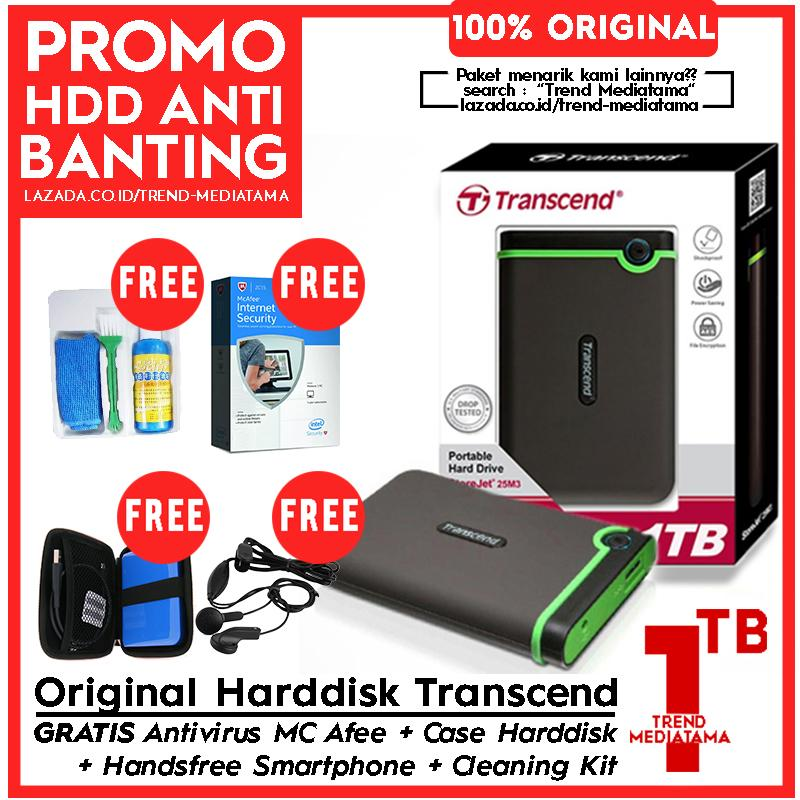 [PROMO] Transcend Hard Drive 1TB - Harddisk External Anti Banting Antishock 25M3 Gratis Anti Virus MC AFee 90 Hari + Handsfree + Cleaning Kit + Hard Case HDD