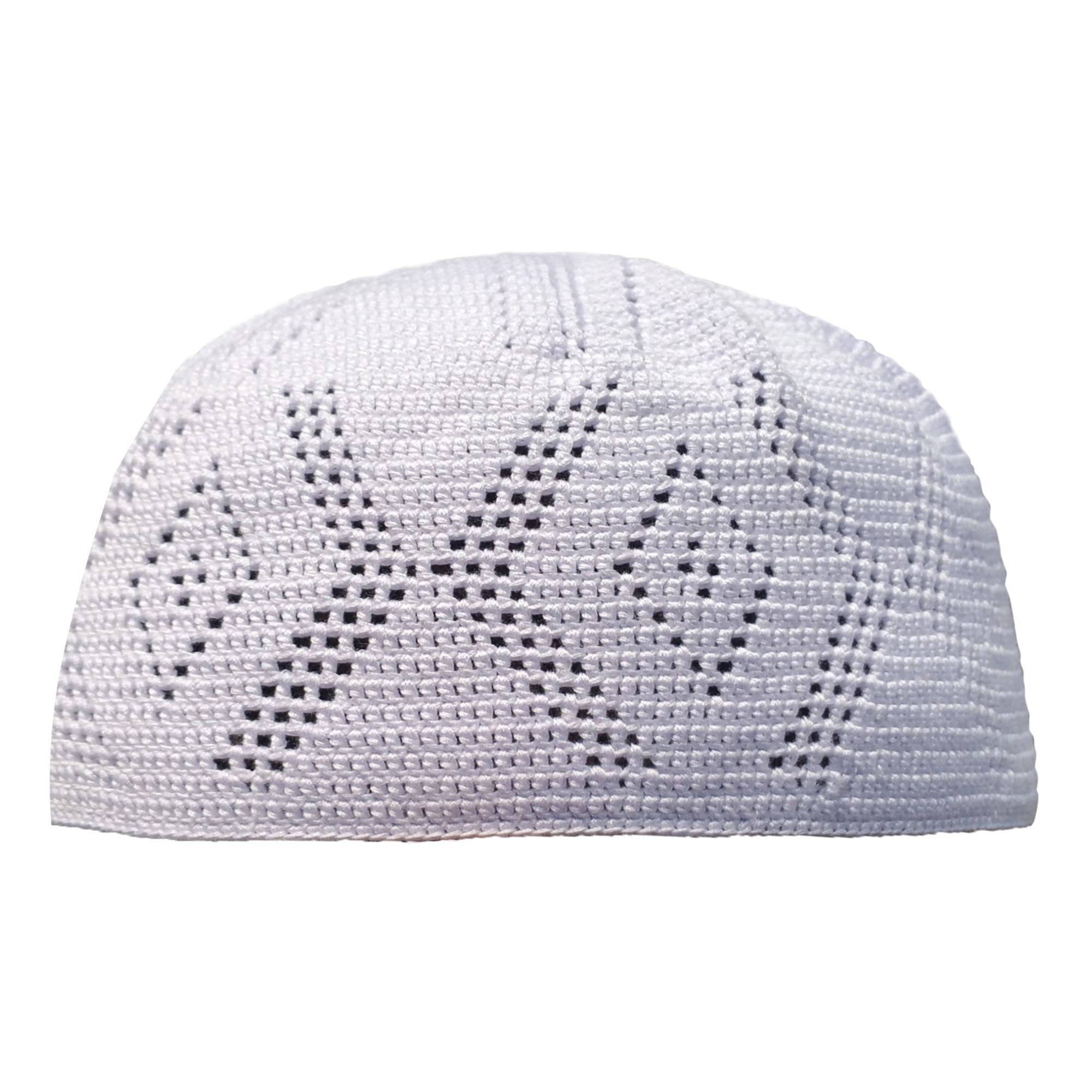 Detail Peci Katun Rajut Warna Putih Polos Wave Handcrochet Cotton Kufi