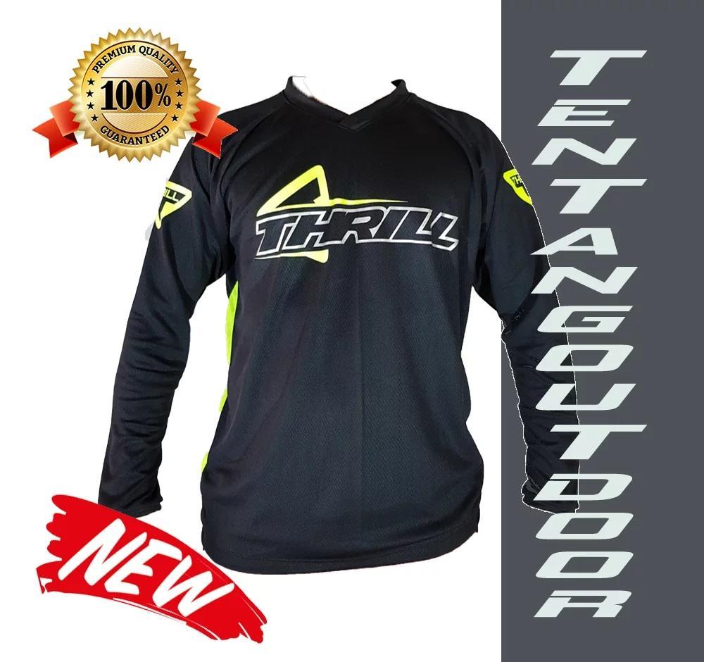 PREMIUM Jersey Downhill Cross Sepeda DH THRILL Baju Kaos F003 MTB Motor Touring BMX - Jersey Sepeda MTB