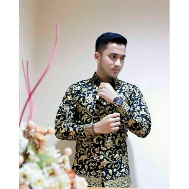 Kemeja Batik Pria Lengan Panjang Batik Pekalongan Batik Prada - Kode PB 201