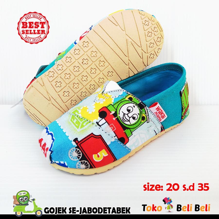 wakai sepatu slip on anak - motif tosca thomas & friends