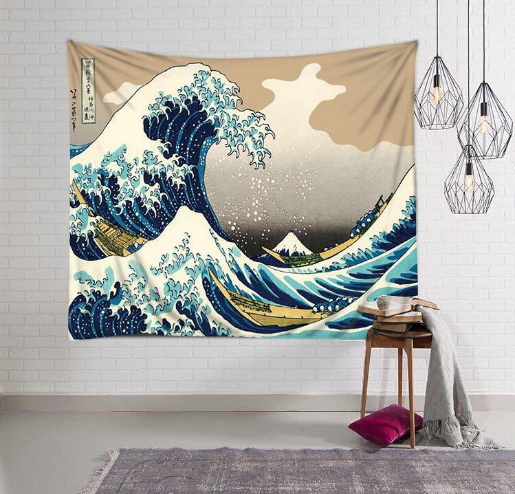 The Great Wave off Kanagawa Japanese Style Ukiyo-E Hailang Cloth Wall Background Decorative Painting Cloth Tapestry Beach Towel Tablecloth