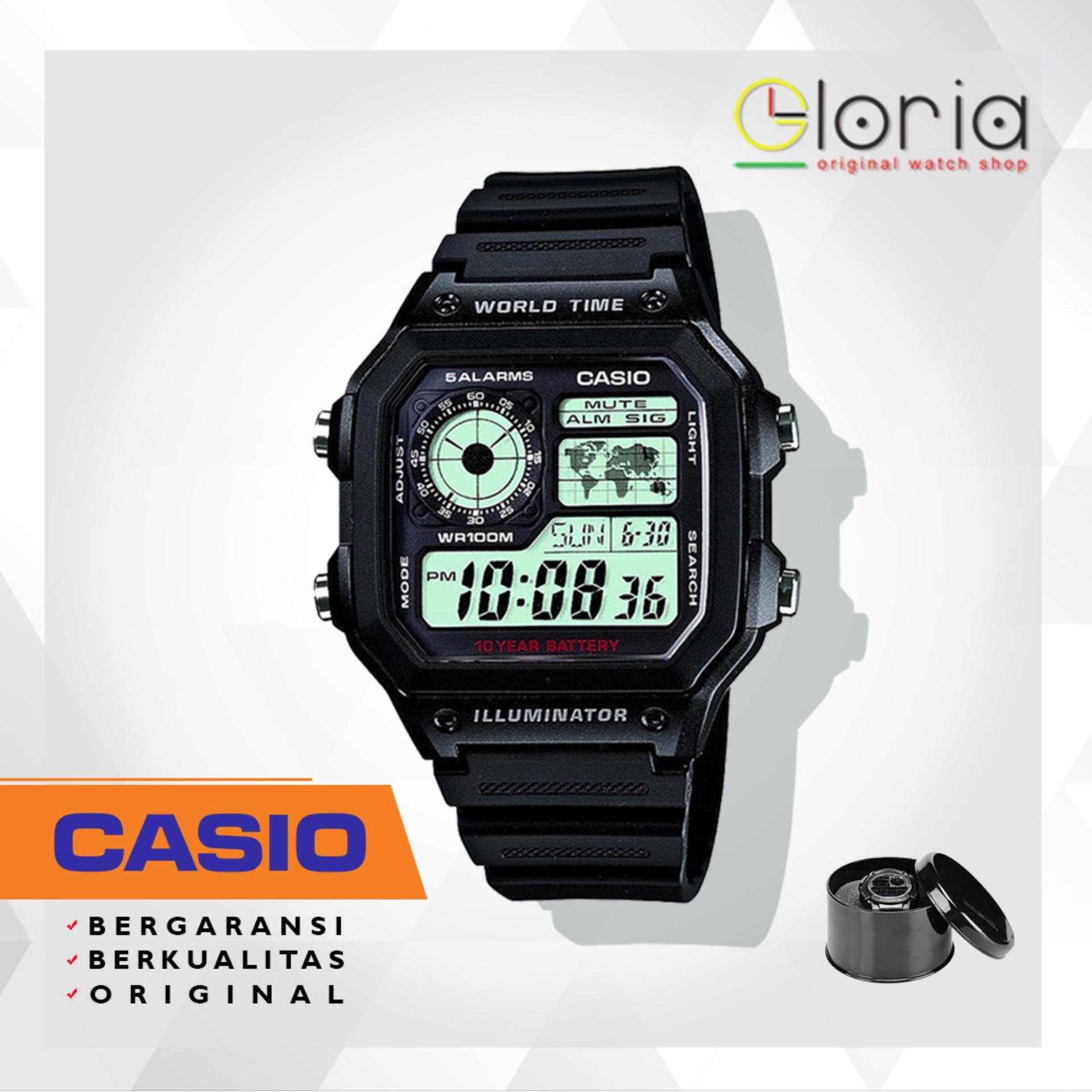 CASIO Illuminator AE-1200WH / 1200WHD Jam Tangan Pria Sport Tali Karet / Stainless Digital