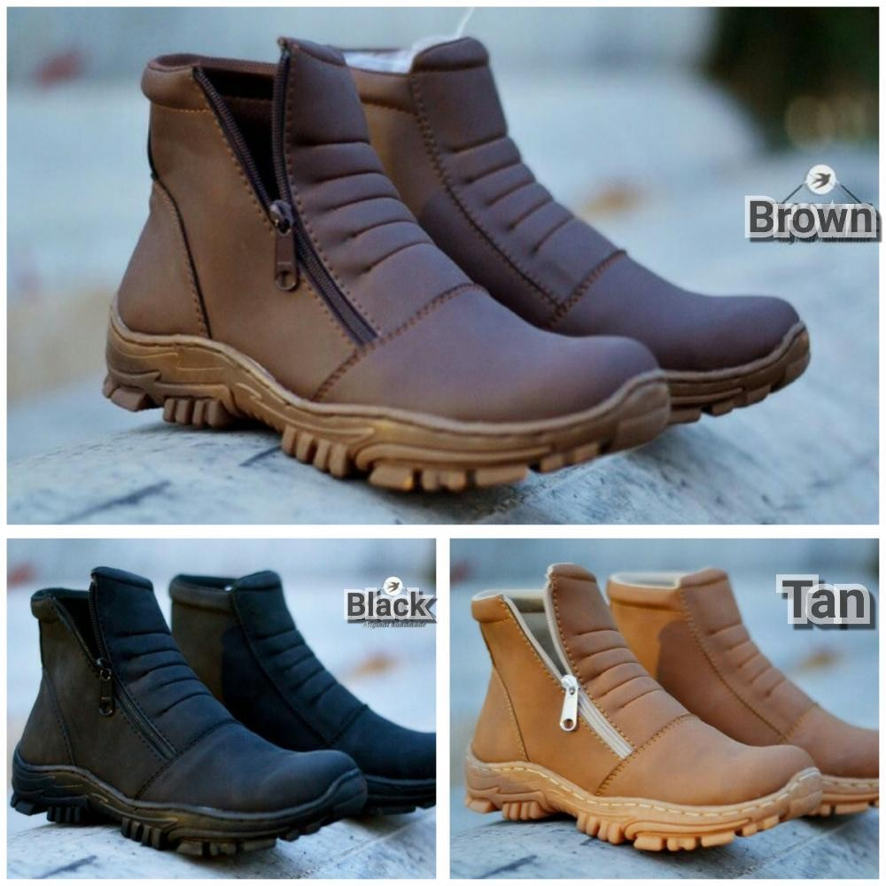 Promo Sepatu boots moofeat kerja touring motor pria hitam full black Fashion da2f338682