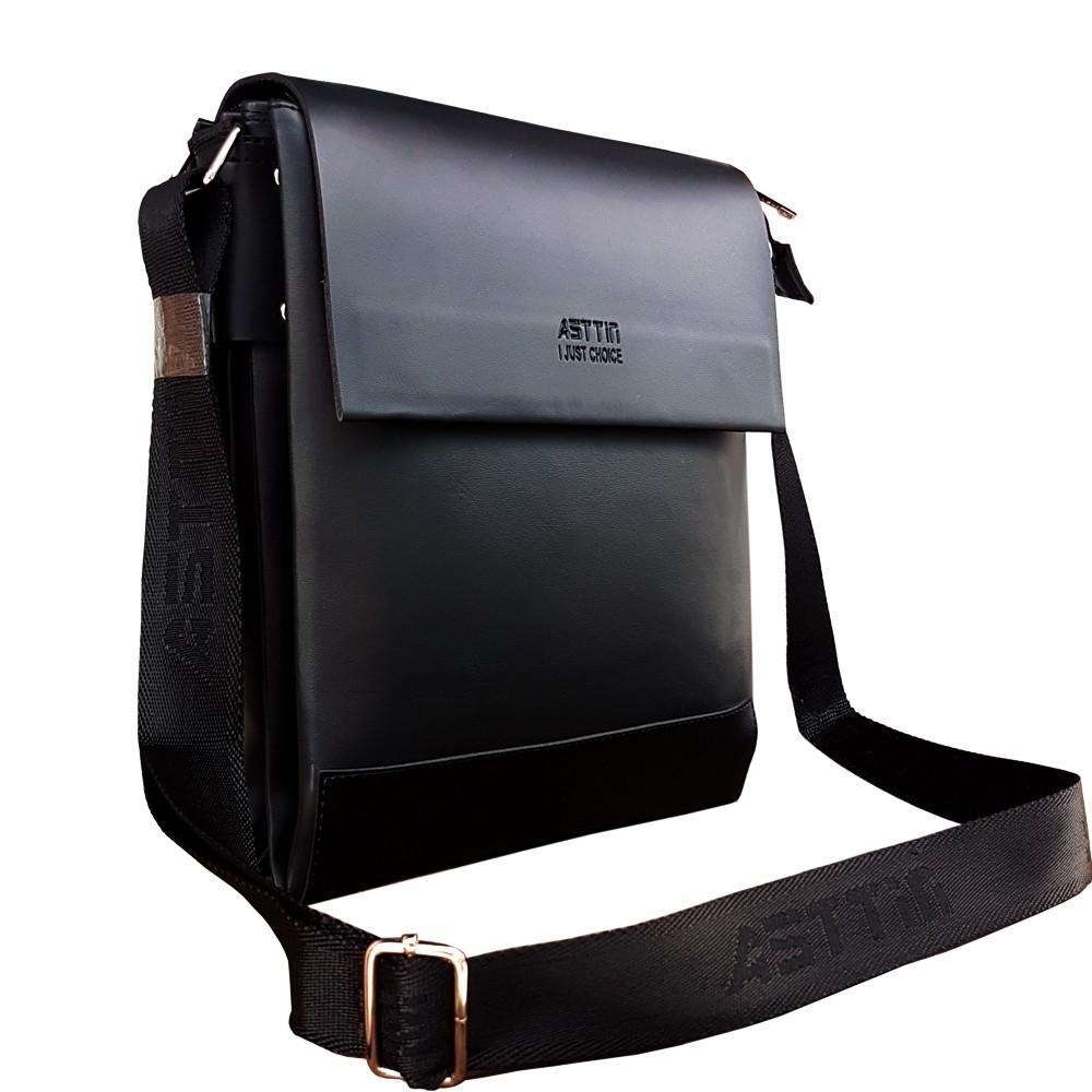 Detail Gambar Tas Slempang Kulit Asttin PU Leather Premium Expandable  Waterproof Original Black - sixway Terbaru 6020f13985