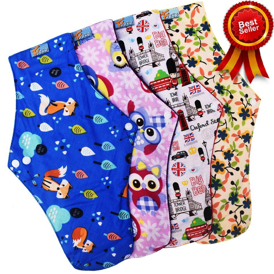 Faaza Store Menspad 4Pcs JUMBO 36cm MenstrualPad / Pembalut Kain Cuci Ulang Wanita-Motif Mekar