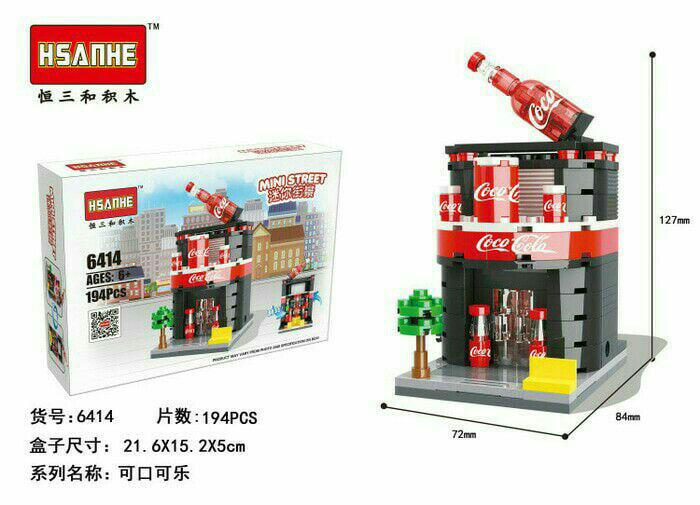 Bricks lego Hsanhe mini street 6414 coca cola isi 194 pcs
