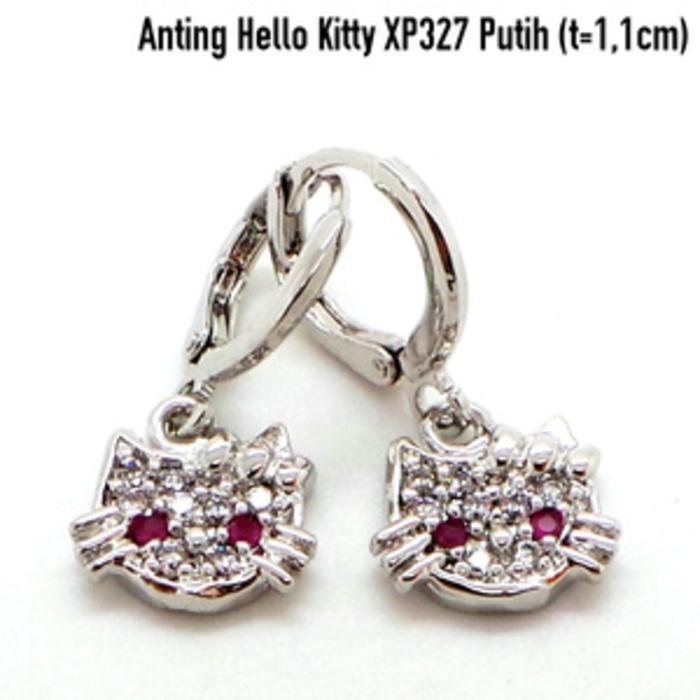Anting Hello Kitty Perhiasan Lapis Emas Putih Aksesoris Wanita XP327P