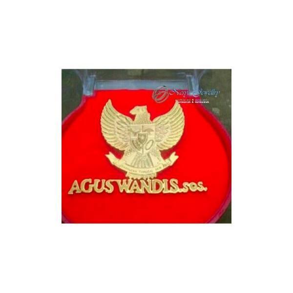 Bross / Logo Nama Lapis Emas Font Garuda
