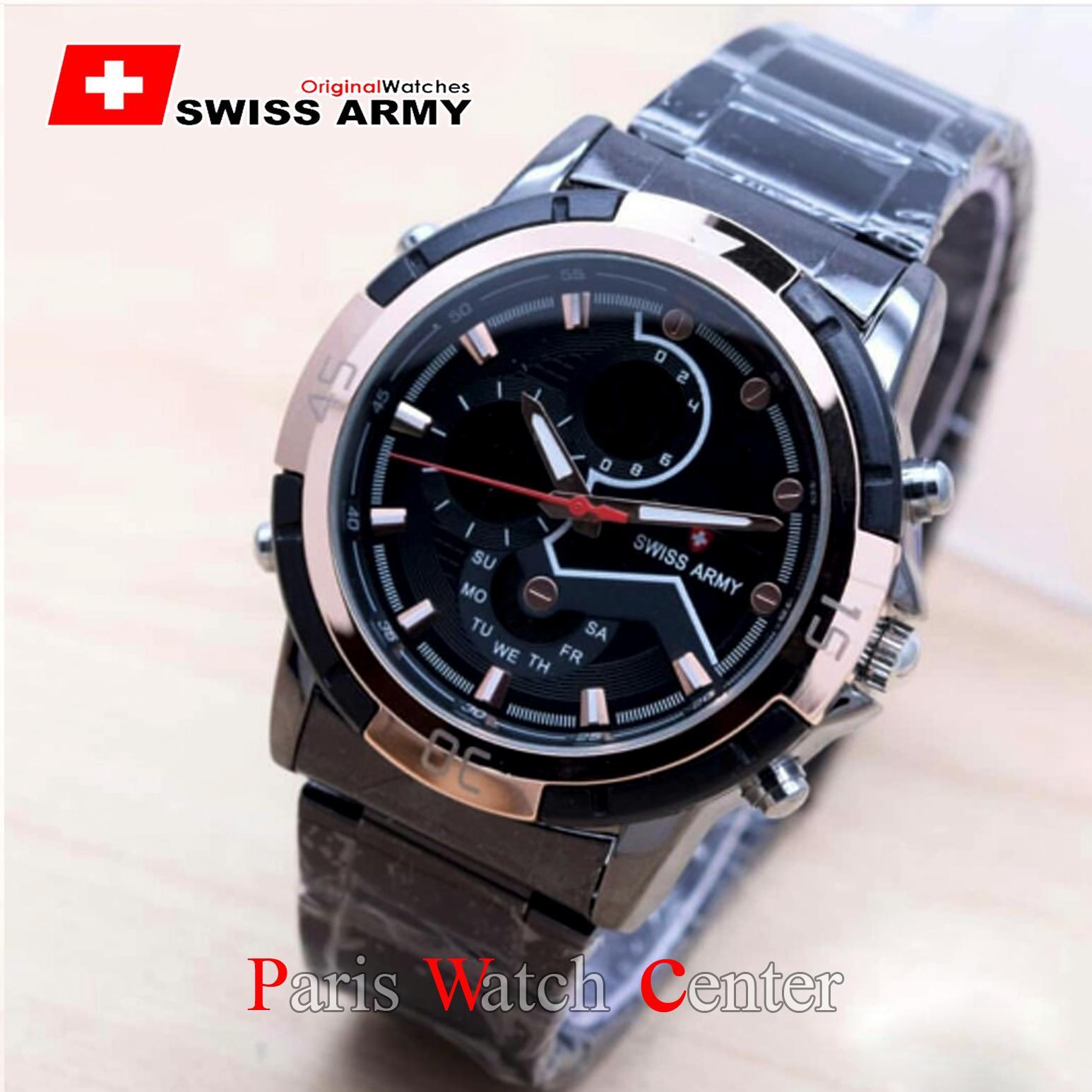 Swiss Army Dual Time Jam Tangan Pria Jam Tangan Trendy Jam Fashionable