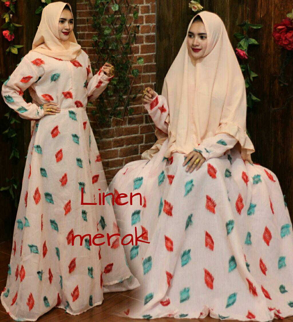 Baju muslim wanita murah-dress gaun gamis syari bubblecrep motif bunga mawar rose besar-klok 4m-busui-size XL By Nurul Collection