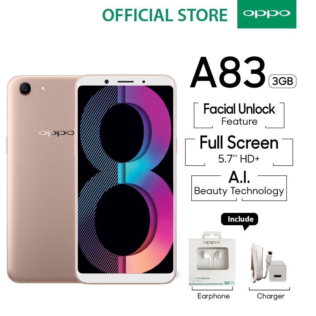 OPPO A83 Smartphone Face Unlock 3GB/32GB Gold - (Cicilan TANPA Kartu Kredit, Metode COD, Cicilan 0%)