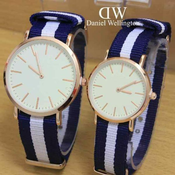 Jam Tangan Tali Kanvas Couple Watch Accessories Stylish Trendy -Navy Blue Strip Putih