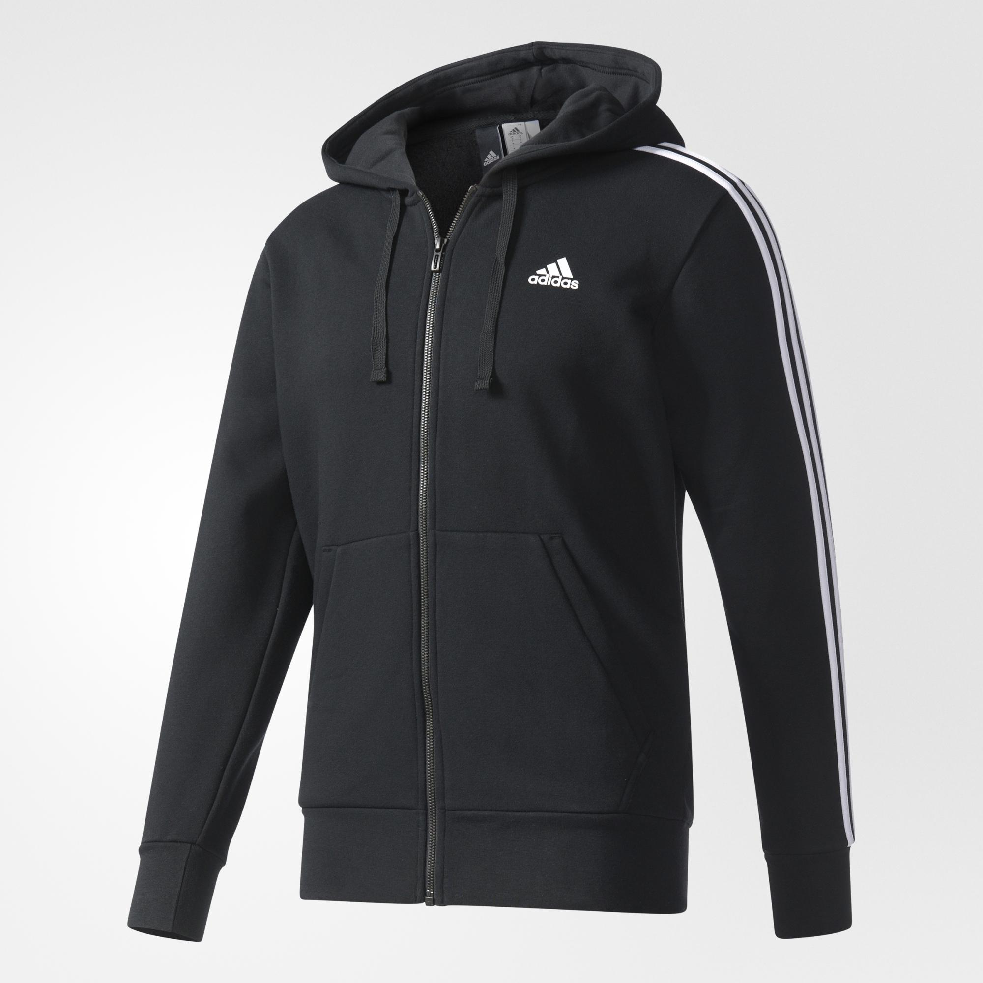 Adidas Jaket Hoodie Essentials 3 stripes Fleece - B47368 - hitam