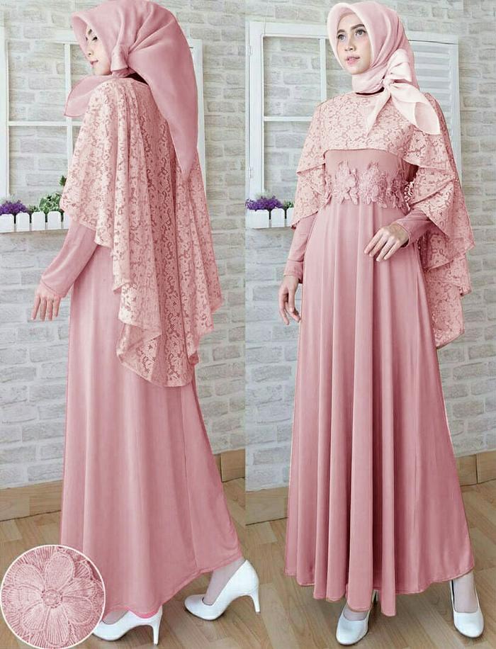 Maxi Githa Pink Variasi Brukat Dan Bunga Timbul Gamis Dres Muslim