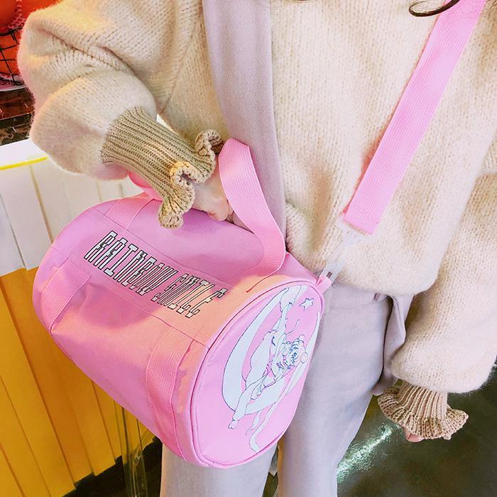 Sederhana Bakso Buatan Sendiri Gadis Bahu Tas Selempang Ramen (Merah Muda)