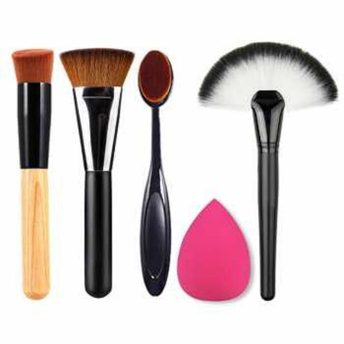 Laz COD - Set Perlengkapan Makeup Travel 5 in 1 Makeup Set Brush Makeup Brush Foundation Contour Brush Base Brush Oblique Brush Sponge Puff