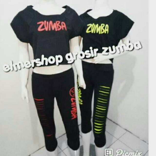 Termurah setelan baju zumba sabrina sobek untuk zumba / senam  new arrivals