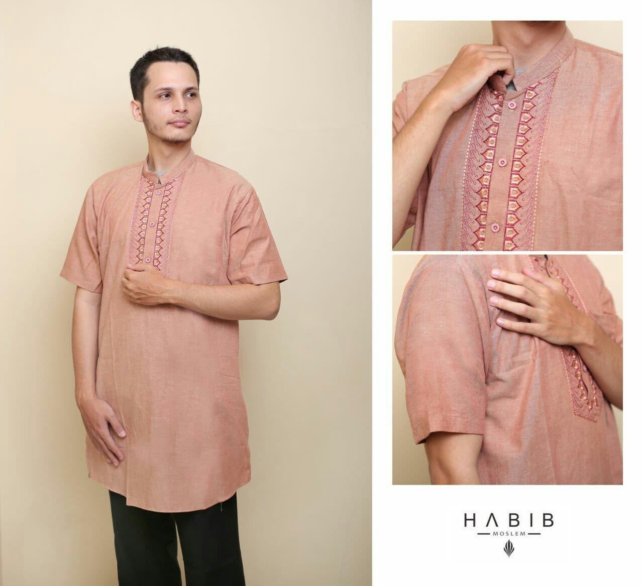 Baju Pria Kemeja Baju Koko Gaul Habib Pendek Merah Muda