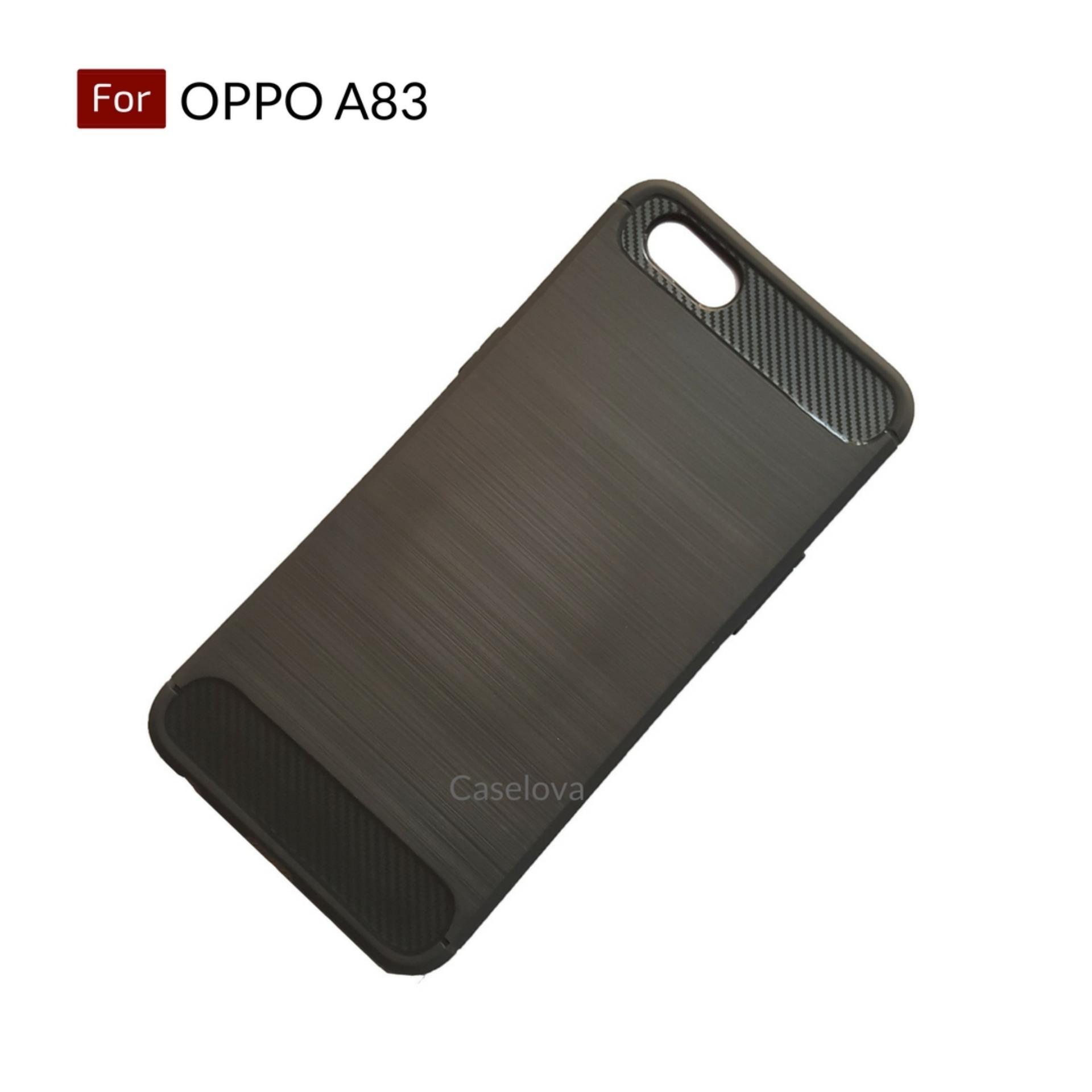 Caselova Premium Quality Carbon Shockproof Hybrid Case for OPPO A83 + Gratis Tempered Glass Bening ...