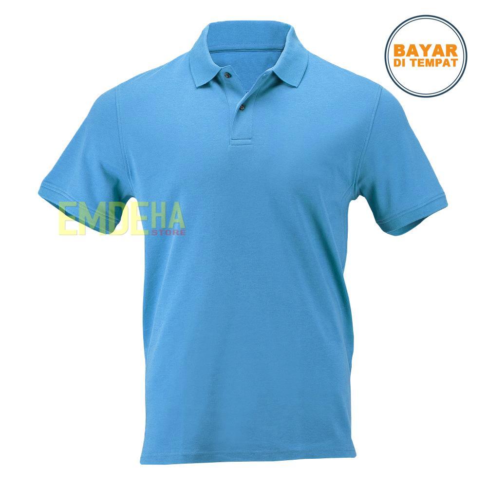 Pakaian Pria Lgs Slim Fit Kaos Polo Biru Navy Garis Putih S