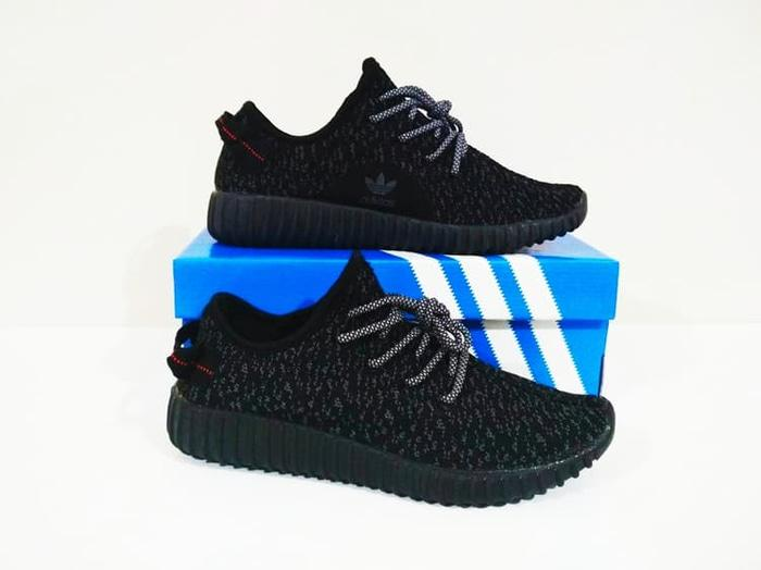 SEPATU COWOK Running / Casual Adidas Yeezy 350 (All Black) TERMURAH - zDKKQi