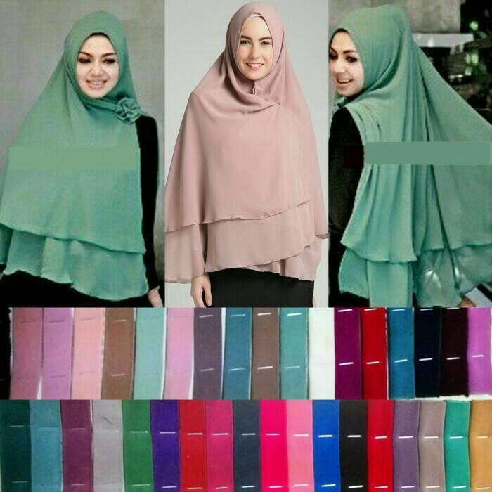 Khimar hijab Jilbab Ceruti Jumbo Instan 2 layer - Putih