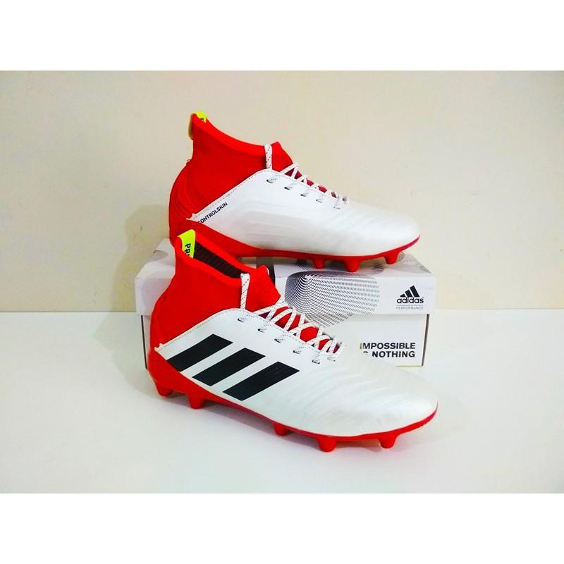 MURAH BERKUALITAS Sepatu Bola Adidas Predator Boots FG (White Red) 100% Real Pic