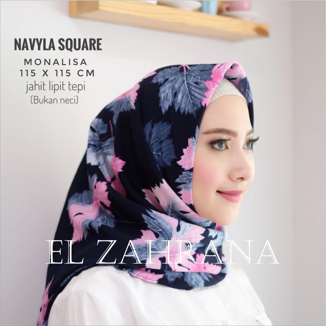 El Zahrana Square Kerudung Segi Empat - Jilbab Motif Premium Monalisa - Maxmara