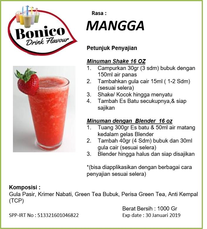 BONICO STRAWBERRY Powder 500gr Bubuk Minuman Drink Flavor Powder ice blend milk shake STRAWBERY