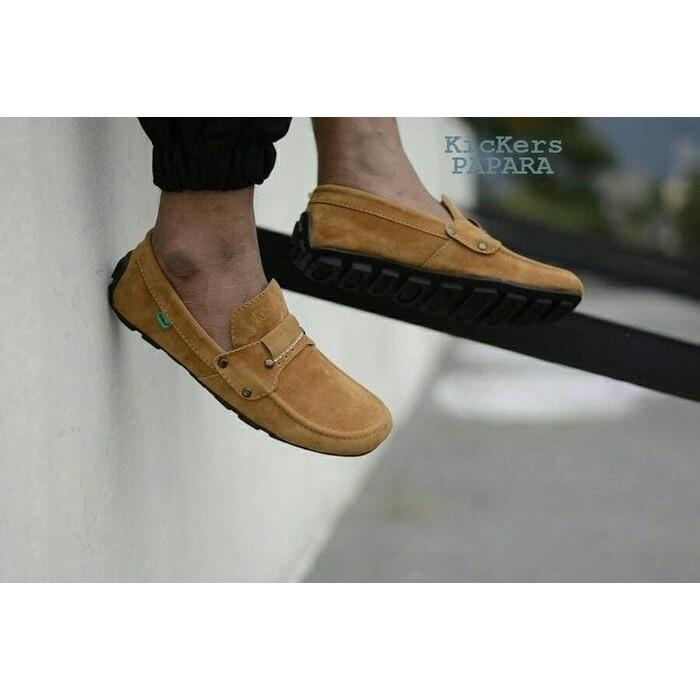 sepatu casual slop slip on formal kickers mocasin papara tan loafers santai kerja