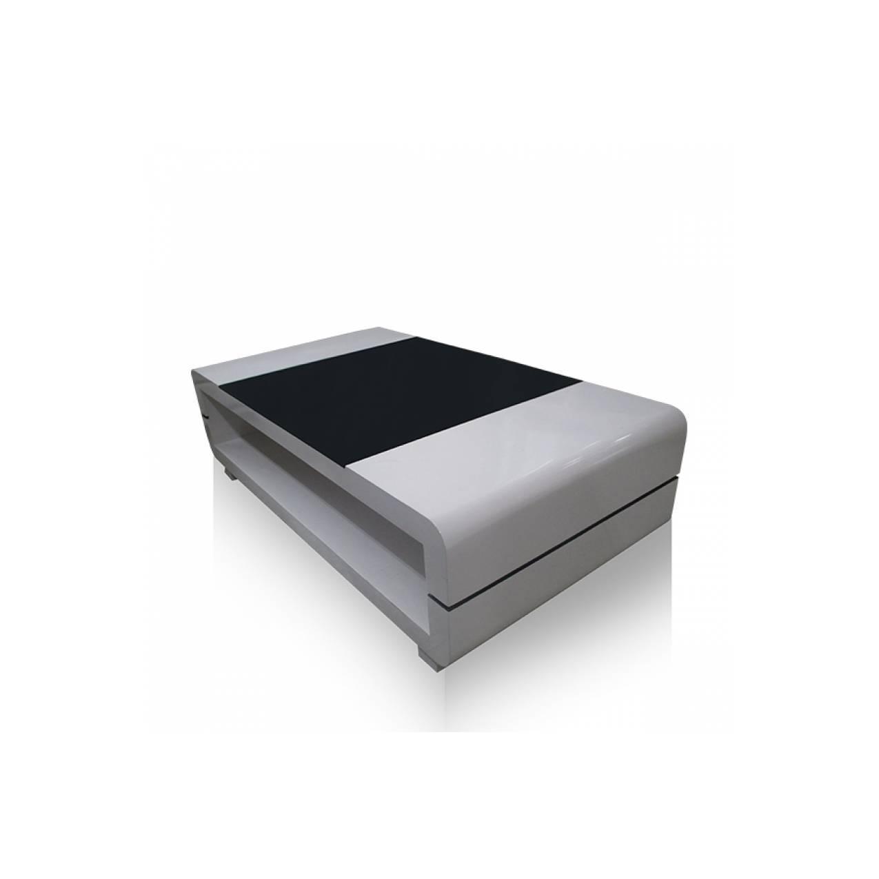 Meja Tamu Persegi Panjang Multiplek + Duco LD 01 - Putih Hitam