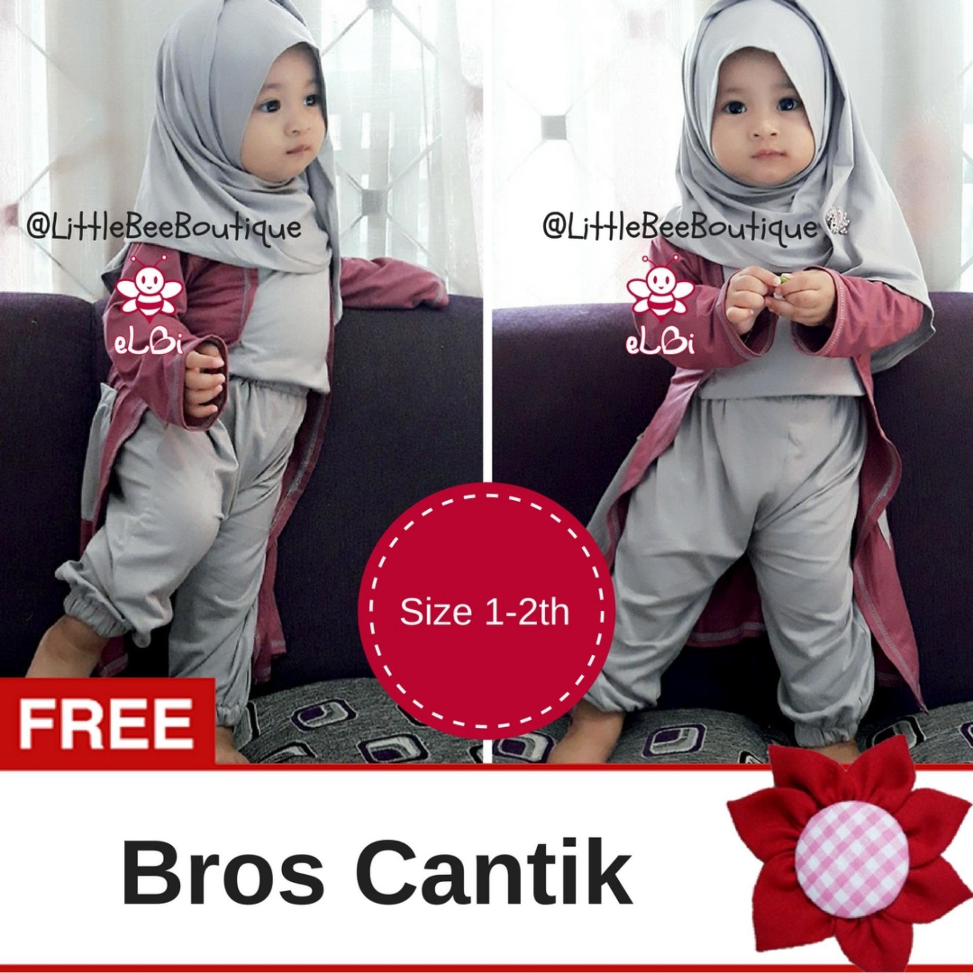 eLBi - Gisela Set Baju Muslim Anak Balita / Baju Anak Bayi Perempuan / Baju Anak 1 Tahun hingga 6 Tahun by Little Bee Boutique
