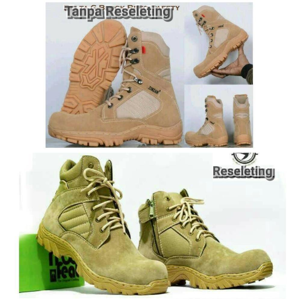 Promo Sepatu tracking gunung zimzam delta Tan dan moofeat reseleting cream boots safety ujung besi kerja pria#artis#anak jalanan rcti#polisi#tni#net tv Fashion
