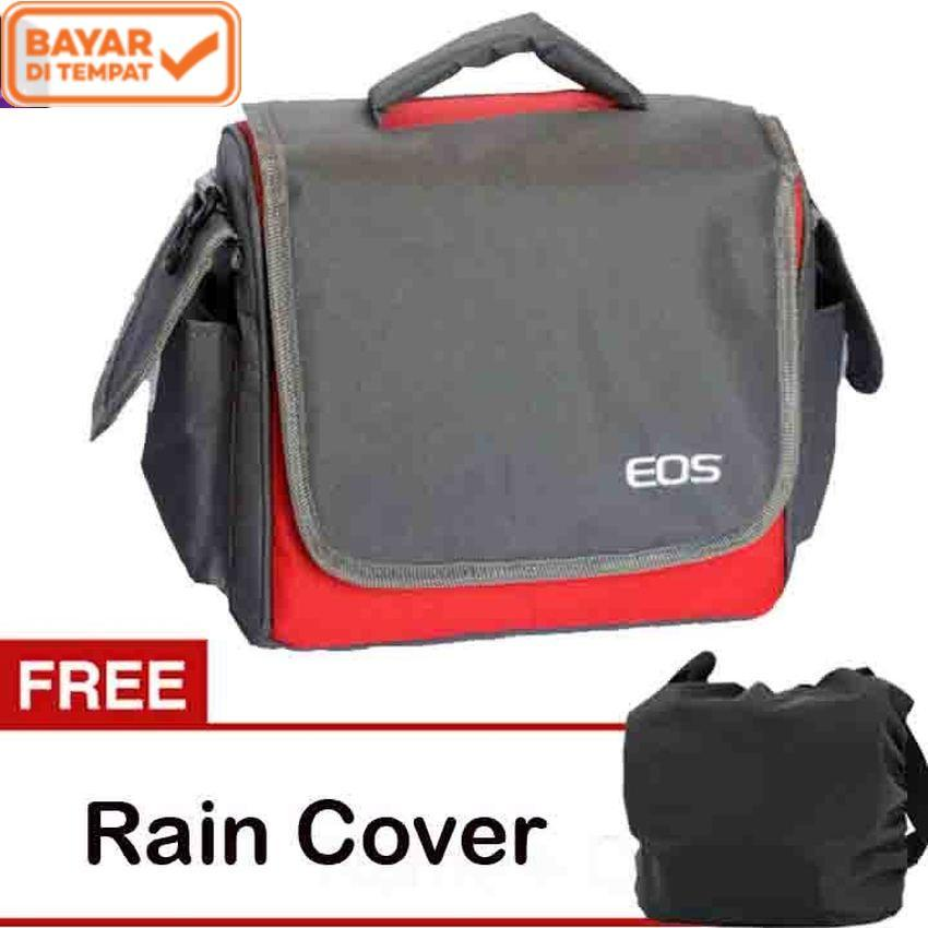 Eos Tas Kamera DSLR Mirrorless Canon 2 Lensa - Merah/Abu-Abu kode UT + Free Rain Cover