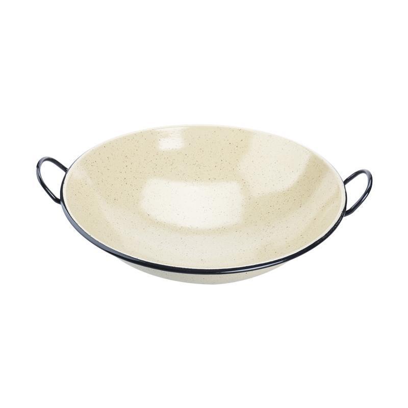 Cooks Habit - Enamel Wok - Yellow Marble [30 cm]