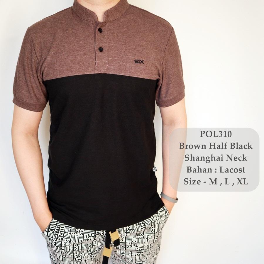 GFS Polo Shirt Hitam Kombinasi / Kaos Polo Shirt Cowok / Baju Sanghai Pria / Baju Fashion Cowok