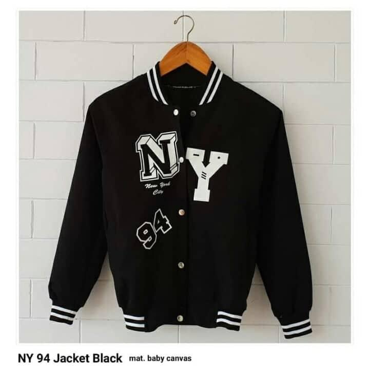 RIA_STORE POCKET JAKET NY 94 JACKET BLACK // FASHION JAKET FLEECE WANITA // JACKET