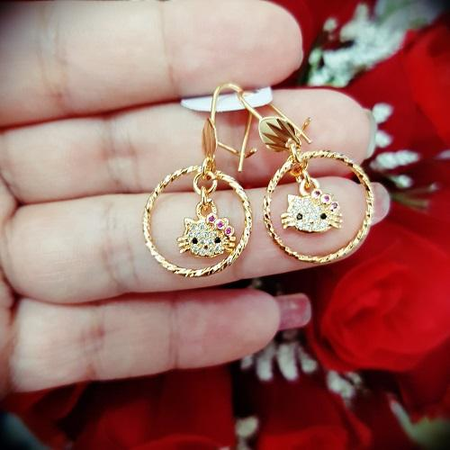 anting kitty cantik bulat xuping gold