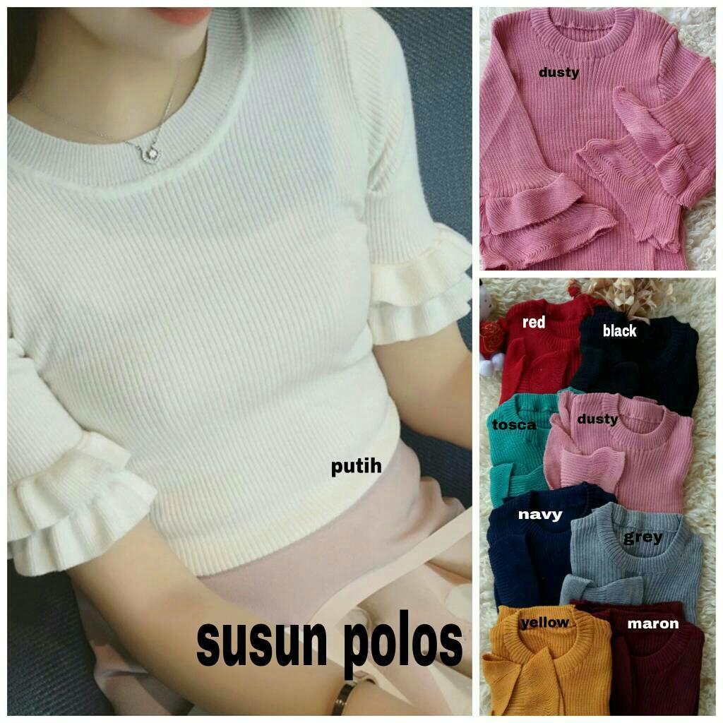 Atasan Wanita Lengan Pendek Knit Susun Polos / Baju Wanita / Blouse Korea / Atasan Wanita / Baju Fo