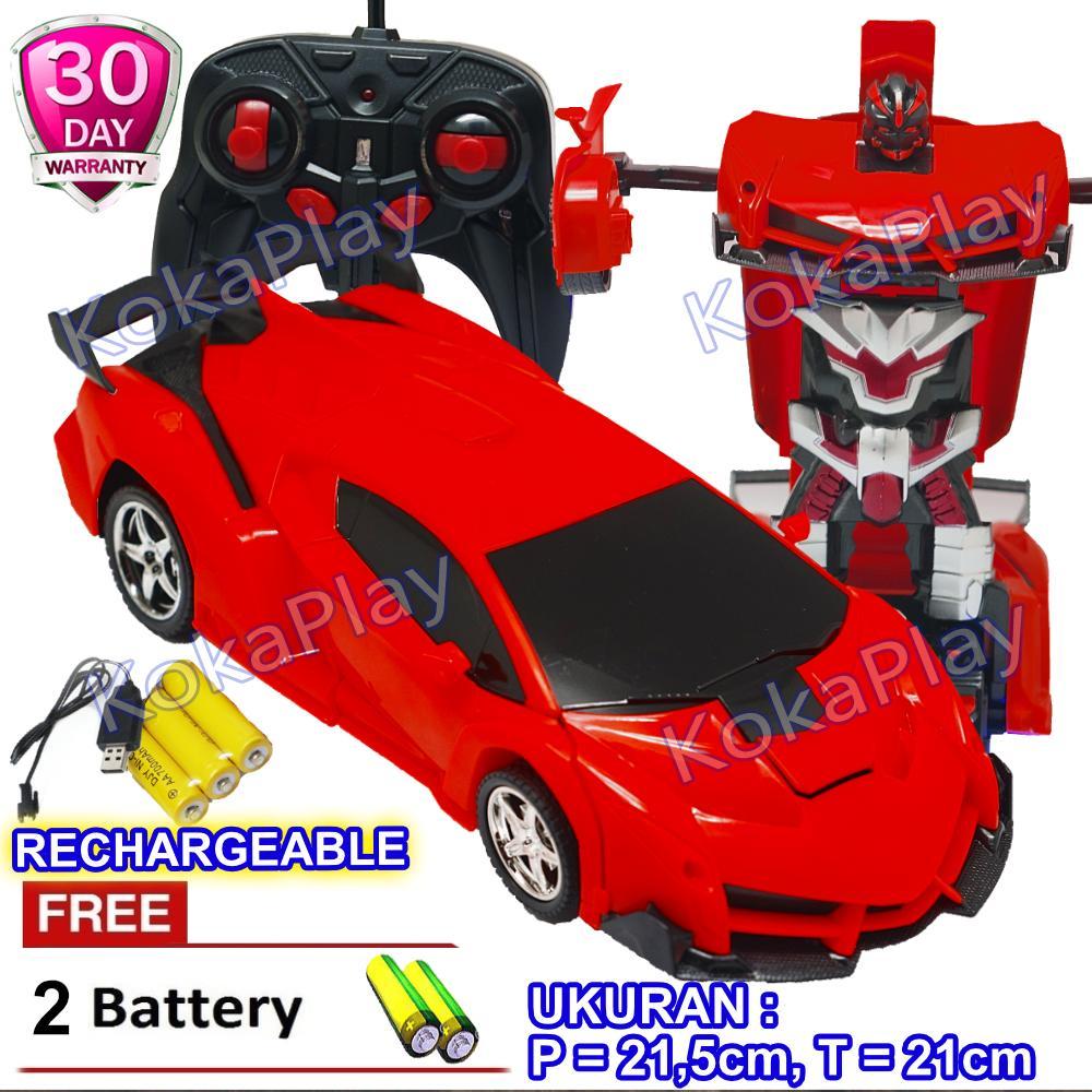 KokaPlay RC The Last Knight Robocar Transformable Sports Car Robot Transformers Mainan Anak RC Mobil Robot