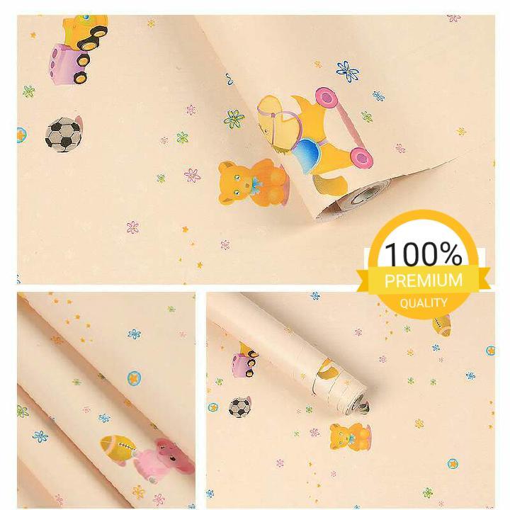 Grosir murah wallpaper sticker dinding kamar ruang indah bagus cantik lucu kartun anak mobil bola panda